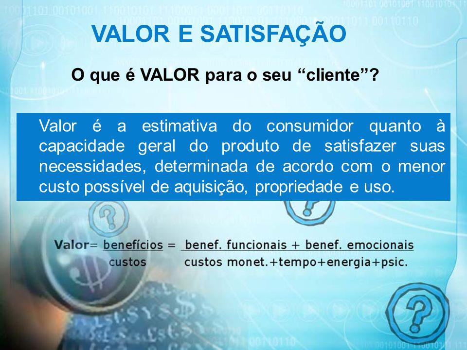 24 VALOR E SATISFAÇÃO O que é VALOR para o seu cliente? Valor é a estimativa do consumidor quanto à capacidade geral do produto de satisfazer suas nec