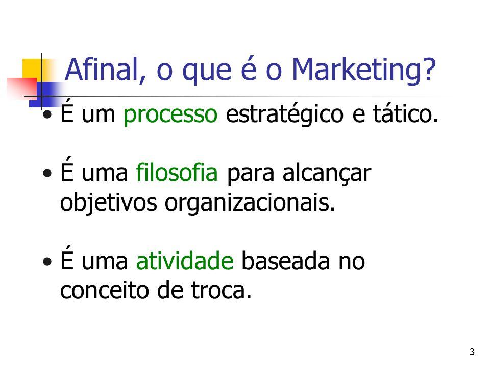 3 Afinal, o que é o Marketing? É um processo estratégico e tático. É uma filosofia para alcançar objetivos organizacionais. É uma atividade baseada no