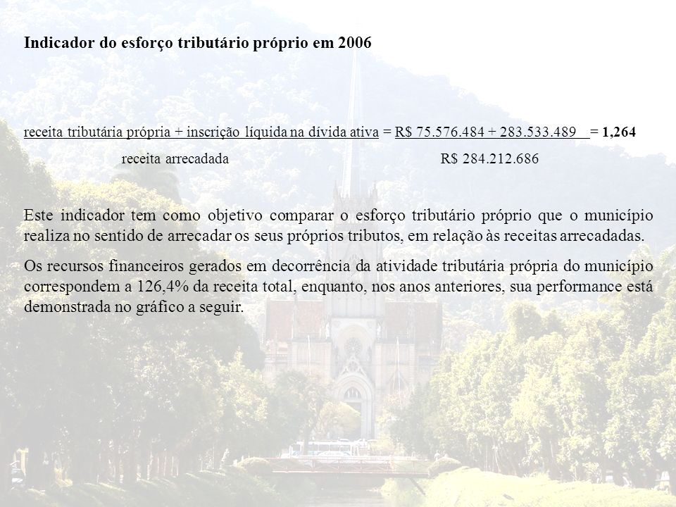 Indicador do esforço tributário próprio em 2006 receita tributária própria + inscrição líquida na dívida ativa = R$ 75.576.484 + 283.533.489 = 1,264 r