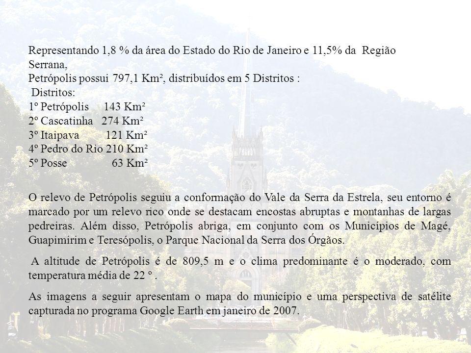 Representando 1,8 % da área do Estado do Rio de Janeiro e 11,5% da Região Serrana, Petrópolis possui 797,1 Km², distribuídos em 5 Distritos : Distrito