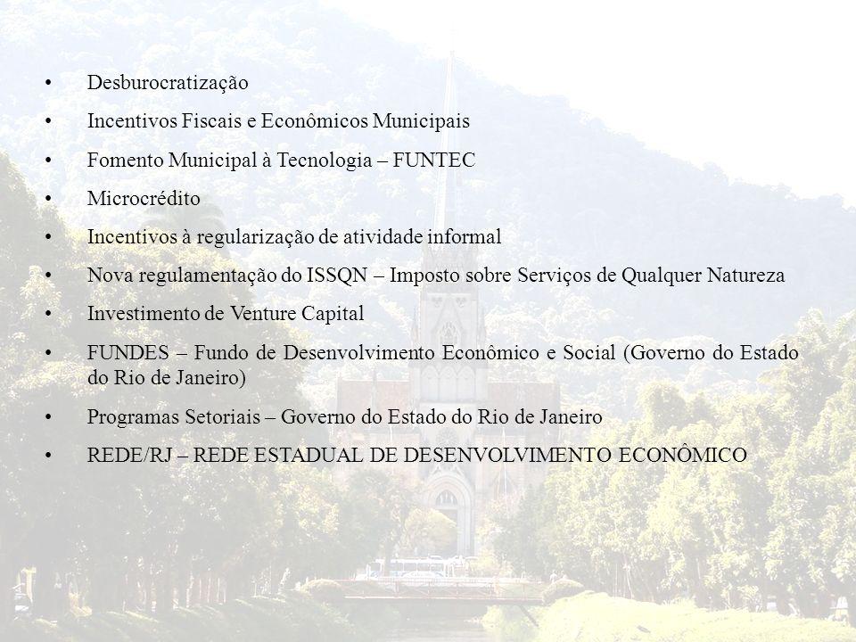 Desburocratização Incentivos Fiscais e Econômicos Municipais Fomento Municipal à Tecnologia – FUNTEC Microcrédito Incentivos à regularização de ativid