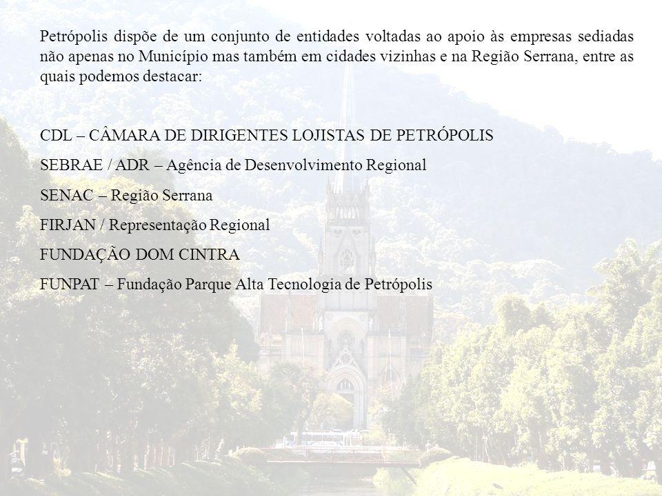 Petrópolis dispõe de um conjunto de entidades voltadas ao apoio às empresas sediadas não apenas no Município mas também em cidades vizinhas e na Regiã