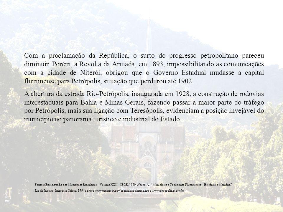 Com a proclamação da República, o surto do progresso petropolitano pareceu diminuir. Porém, a Revolta da Armada, em 1893, impossibilitando as comunica