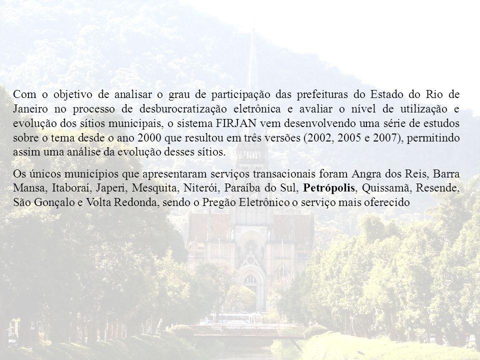 Com o objetivo de analisar o grau de participação das prefeituras do Estado do Rio de Janeiro no processo de desburocratização eletrônica e avaliar o