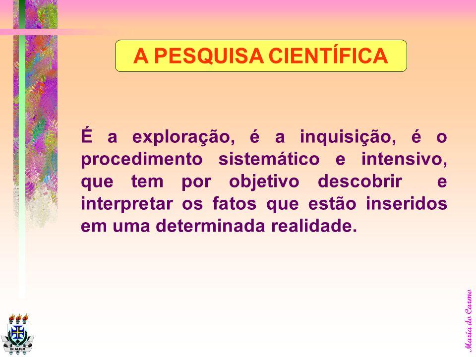 Maria do Carmo A pesquisa é definida como uma forma de estudo de um objeto. Este estudo é sistemático e é produto de uma investigação, cujo objetivo é