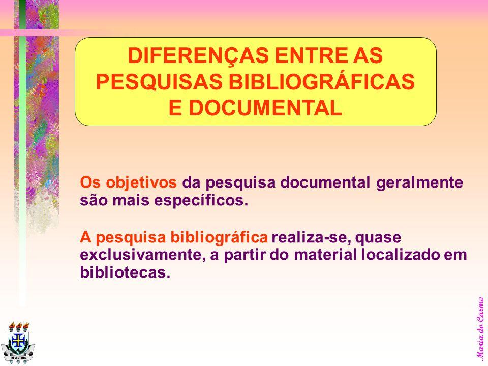 Maria do Carmo A pesquisa bibliográfica é passo decisivo em qualquer pesquisa científica, uma vez que elimina a possibilidade de se trabalhar em vão,