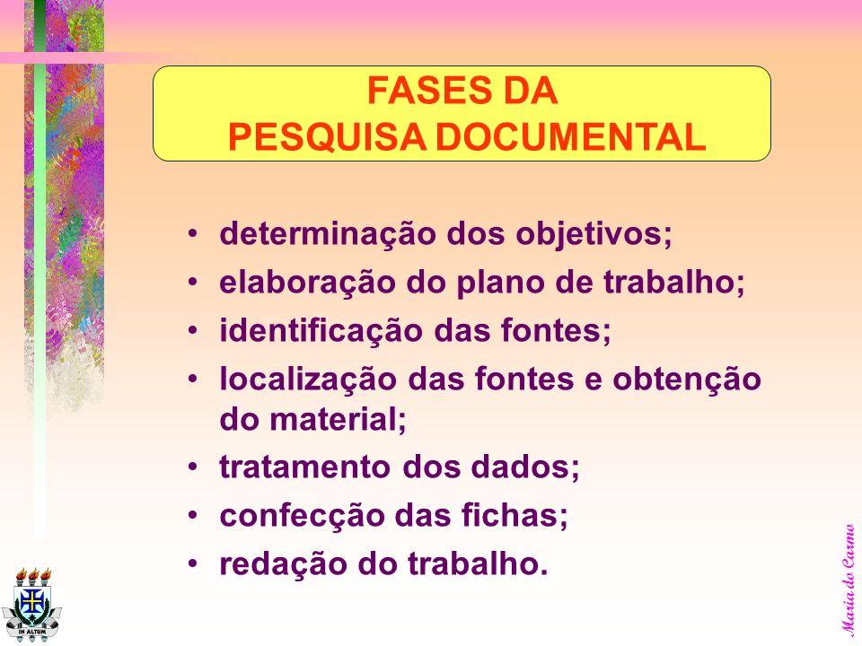 Maria do Carmo escolha e identificação do assunto; determinação dos objetivos; elaboração do plano de trabalho; identificação das fontes; localização