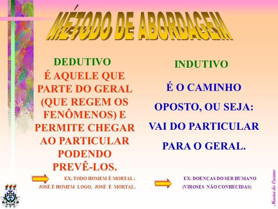 Maria do Carmo É AQUELE ESCOLHIDO PARA A INVESTIGAÇÃO DO FENÔMENO, REFERINDO-SE AO PLANO GERAL DO TRABALHO. OS MÉTODOS DE ABORDAGENS SÃO EXCLUSIVOS EN