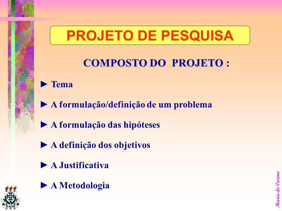 Maria do Carmo COMPOSTO DO PROJETO : Tema A formulação/definição de um problema A formulação das hipóteses A definição dos objetivos A Justificativa A Metodologia PROJETO DE PESQUISA