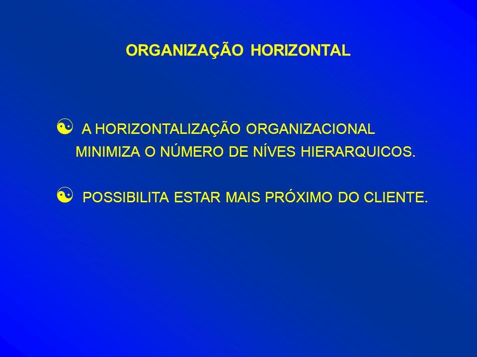 ORGANIZAÇÃO HORIZONTAL [ A HORIZONTALIZAÇÃO ORGANIZACIONAL MINIMIZA O NÚMERO DE NÍVES HIERARQUICOS. [ POSSIBILITA ESTAR MAIS PRÓXIMO DO CLIENTE.