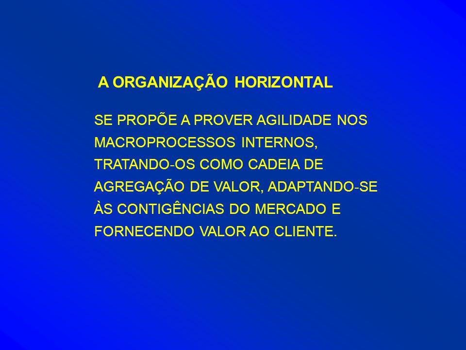 A ORGANIZAÇÃO HORIZONTAL SE PROPÕE A PROVER AGILIDADE NOS MACROPROCESSOS INTERNOS, TRATANDO-OS COMO CADEIA DE AGREGAÇÃO DE VALOR, ADAPTANDO-SE ÀS CONT