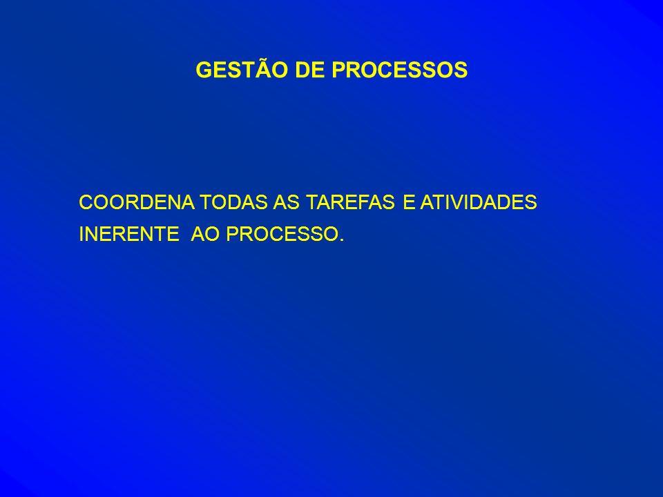 GESTÃO DE PROCESSOS COORDENA TODAS AS TAREFAS E ATIVIDADES INERENTE AO PROCESSO.
