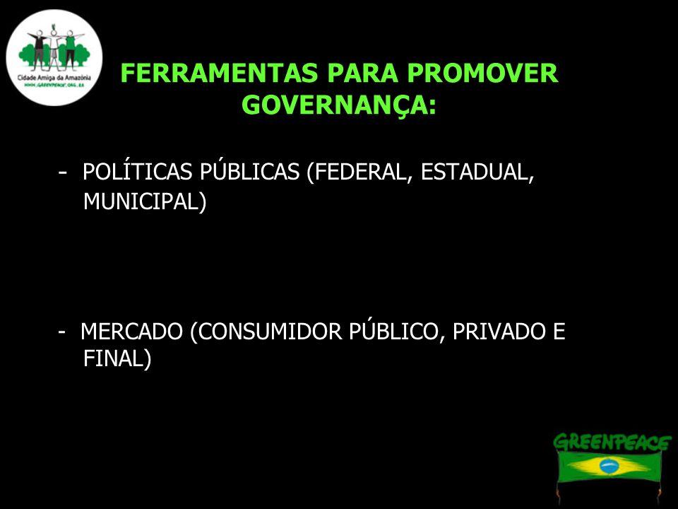 FERRAMENTAS PARA PROMOVER GOVERNANÇA: - POLÍTICAS PÚBLICAS (FEDERAL, ESTADUAL, MUNICIPAL) - MERCADO (CONSUMIDOR PÚBLICO, PRIVADO E FINAL)