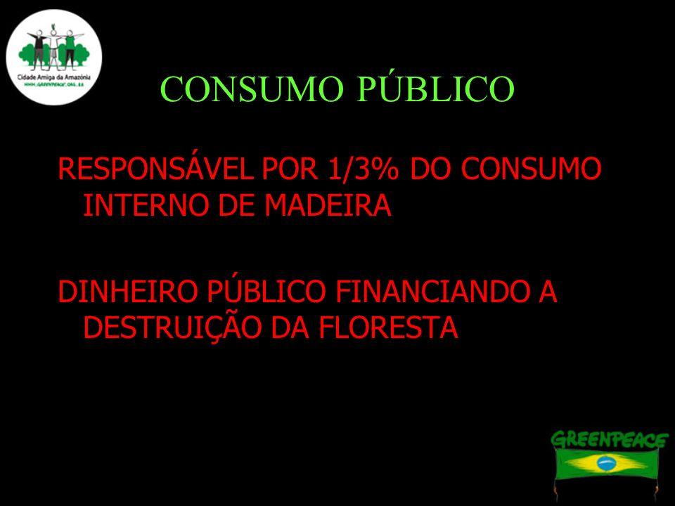 CONSUMO PÚBLICO RESPONSÁVEL POR 1/3% DO CONSUMO INTERNO DE MADEIRA DINHEIRO PÚBLICO FINANCIANDO A DESTRUIÇÃO DA FLORESTA