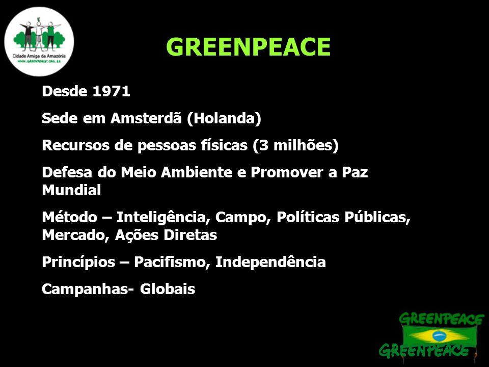 GREENPEACE Desde 1971 Sede em Amsterdã (Holanda) Recursos de pessoas físicas (3 milhões) Defesa do Meio Ambiente e Promover a Paz Mundial Método – Int