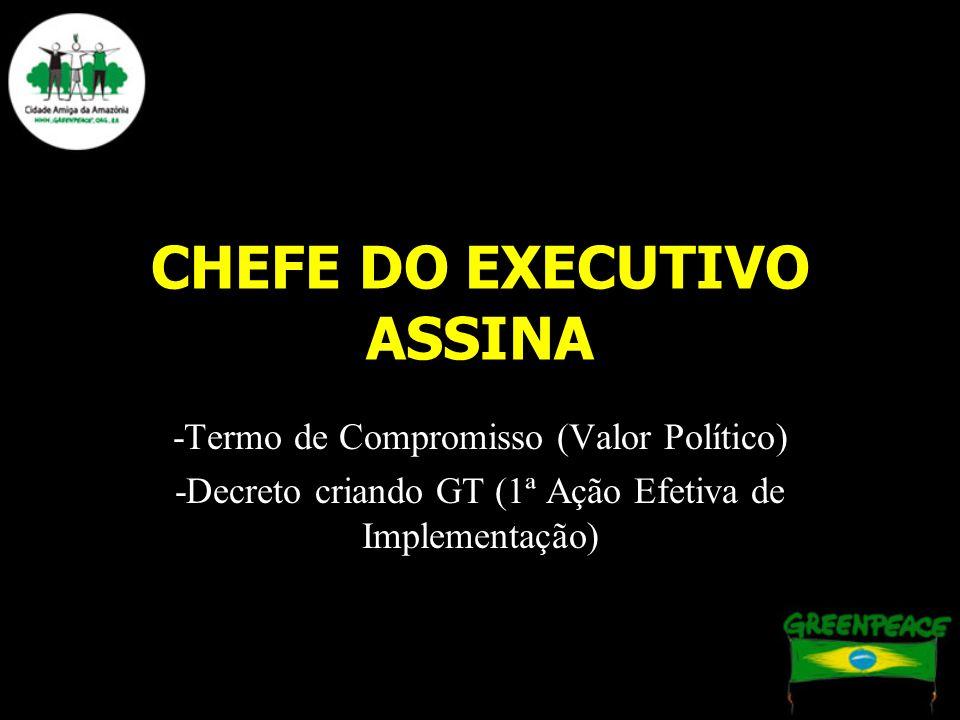 CHEFE DO EXECUTIVO ASSINA -Termo de Compromisso (Valor Político) -Decreto criando GT (1ª Ação Efetiva de Implementação)