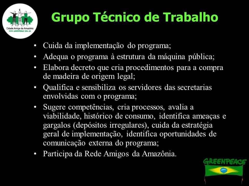Grupo Técnico de Trabalho Cuida da implementação do programa; Adequa o programa à estrutura da máquina pública; Elabora decreto que cria procedimentos