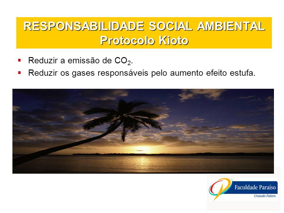 RESPONSABILIDADE SOCIAL AMBIENTAL Protocolo Kioto Reduzir a emissão de CO 2. Reduzir os gases responsáveis pelo aumento efeito estufa.