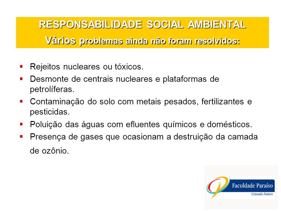 RESPONSABILIDADE SOCIAL AMBIENTAL Vários p roblemas ainda não foram resolvidos: Rejeitos nucleares ou tóxicos. Desmonte de centrais nucleares e plataf