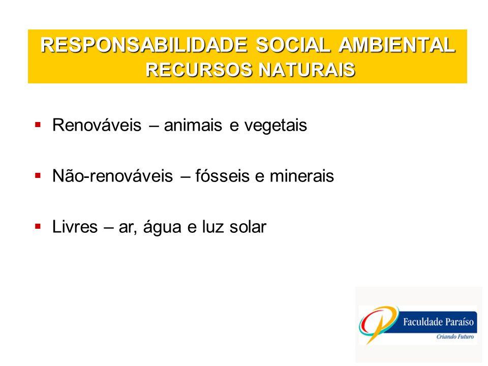 RESPONSABILIDADE SOCIAL AMBIENTAL RECURSOS NATURAIS Renováveis – animais e vegetais Não-renováveis – fósseis e minerais Livres – ar, água e luz solar