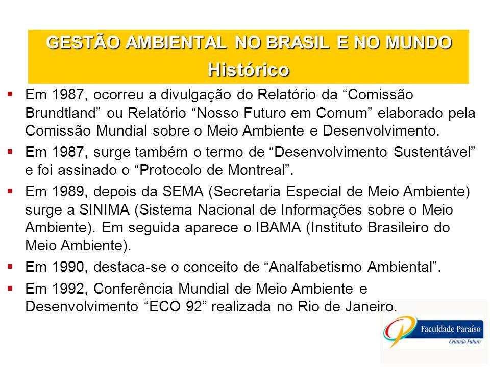 GESTÃO AMBIENTAL NO BRASIL E NO MUNDO Histórico Em 1987, ocorreu a divulgação do Relatório da Comissão Brundtland ou Relatório Nosso Futuro em Comum e