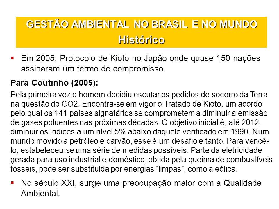 GESTÃO AMBIENTAL NO BRASIL E NO MUNDO Histórico Em 2005, Protocolo de Kioto no Japão onde quase 150 nações assinaram um termo de compromisso. Para Cou