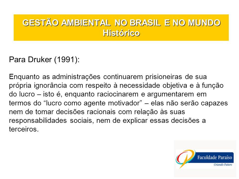GESTÃO AMBIENTAL NO BRASIL E NO MUNDO Histórico Para Druker (1991): Enquanto as administrações continuarem prisioneiras de sua própria ignorância com