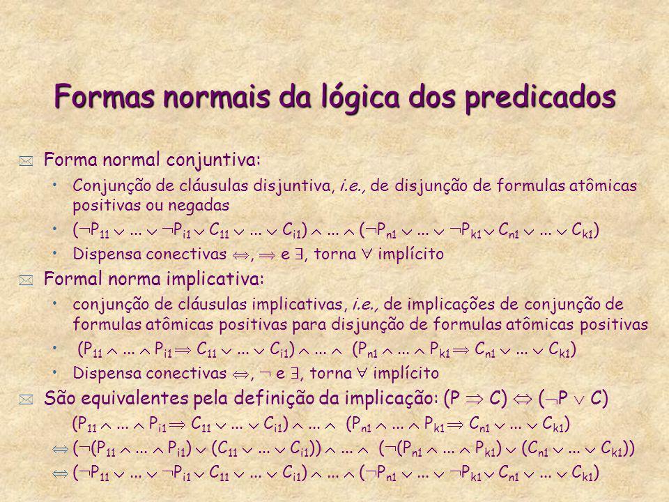 Formas normais da lógica dos predicados * Forma normal conjuntiva: Conjunção de cláusulas disjuntiva, i.e., de disjunção de formulas atômicas positiva