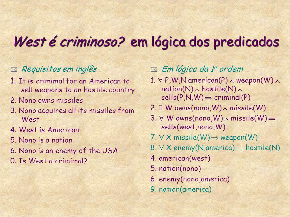 West é criminoso? em lógica dos predicados * Requisitos em inglês 1. It is crimimal for an American to sell weapons to an hostile country 2. Nono owns