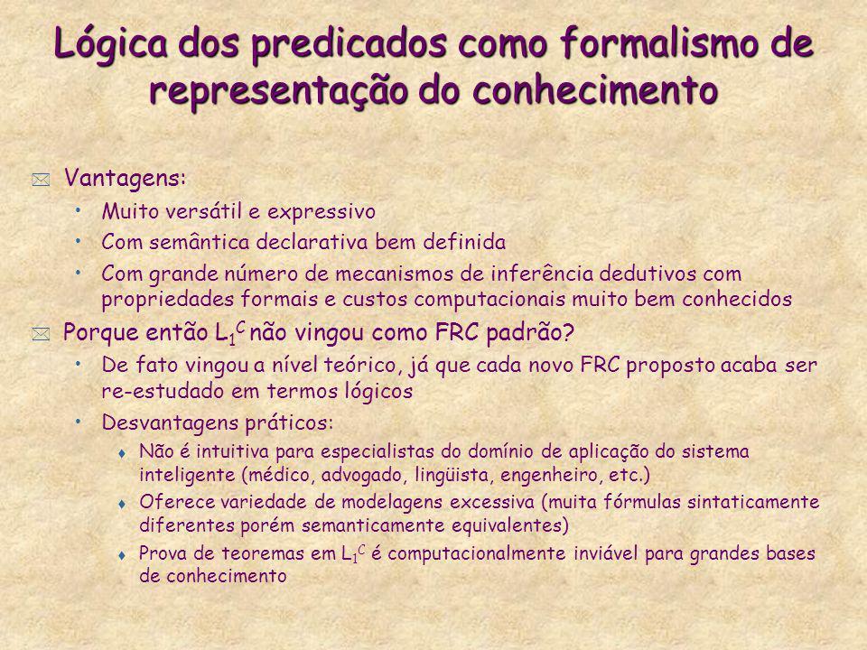 Lógica dos predicados como formalismo de representação do conhecimento * Vantagens: Muito versátil e expressivo Com semântica declarativa bem definida