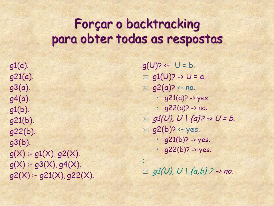 Forçar o backtracking para obter todas as respostas g1(a). g21(a). g3(a). g4(a). g1(b). g21(b). g22(b). g3(b). g(X) :- g1(X), g2(X). g(X) :- g3(X), g4