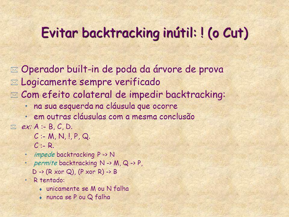 Evitar backtracking inútil: ! (o Cut) * Operador built-in de poda da árvore de prova * Logicamente sempre verificado * Com efeito colateral de impedir