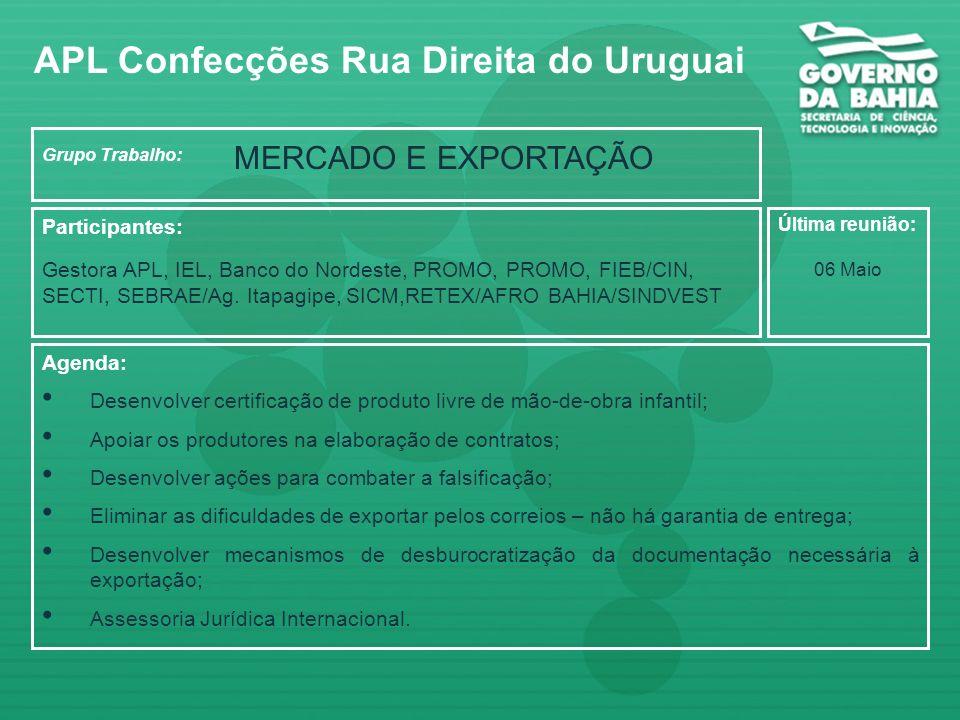 Grupo Trabalho: Crédito e Financiamento Participantes: Gestora do APL, IEL, BNB, Desenbahia, SICM,SETRAS,Banco do Brasil, Caixa Econômica Agenda: Dese