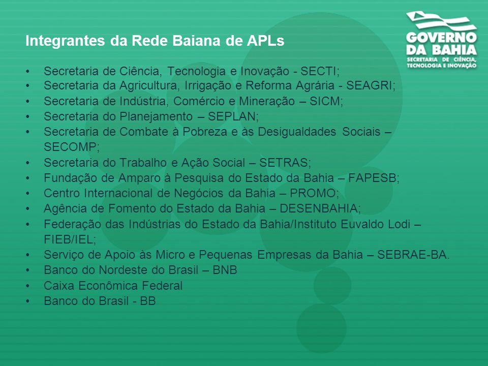 Integrantes da Rede Baiana de APLs Secretaria de Ciência, Tecnologia e Inovação - SECTI; Secretaria da Agricultura, Irrigação e Reforma Agrária - SEAGRI; Secretaria de Indústria, Comércio e Mineração – SICM; Secretaria do Planejamento – SEPLAN; Secretaria de Combate à Pobreza e às Desigualdades Sociais – SECOMP; Secretaria do Trabalho e Ação Social – SETRAS; Fundação de Amparo à Pesquisa do Estado da Bahia – FAPESB; Centro Internacional de Negócios da Bahia – PROMO; Agência de Fomento do Estado da Bahia – DESENBAHIA; Federação das Indústrias do Estado da Bahia/Instituto Euvaldo Lodi – FIEB/IEL; Serviço de Apoio às Micro e Pequenas Empresas da Bahia – SEBRAE-BA.