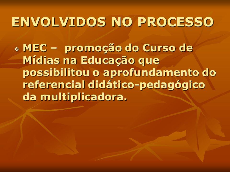 ENVOLVIDOS NO PROCESSO MEC – promoção do Curso de Mídias na Educação que possibilitou o aprofundamento do referencial didático-pedagógico da multiplic