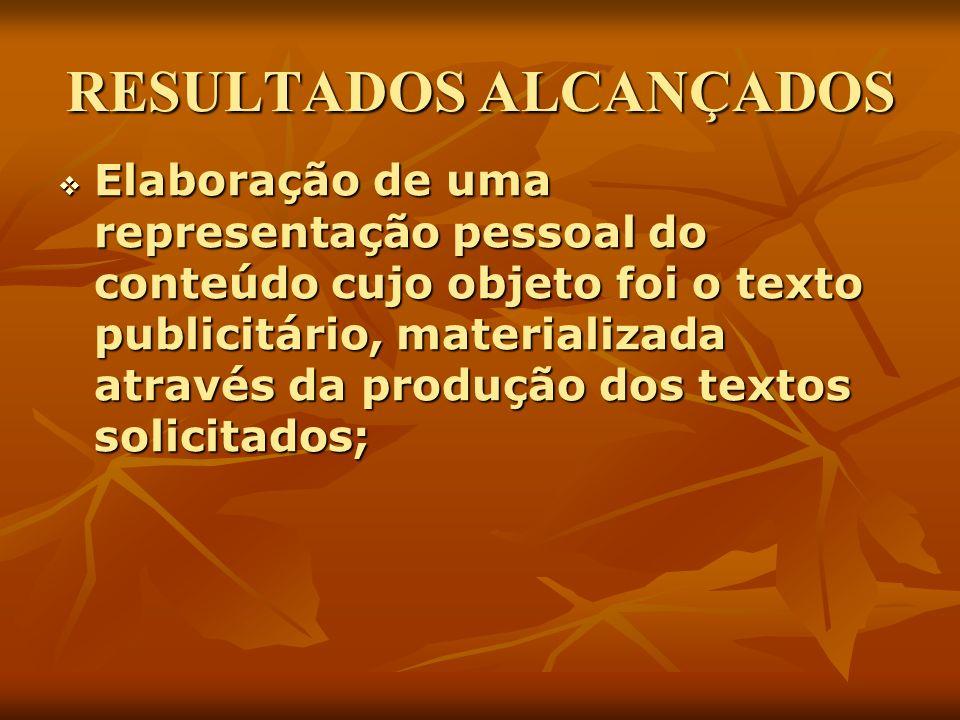 RESULTADOS ALCANÇADOS Elaboração de uma representação pessoal do conteúdo cujo objeto foi o texto publicitário, materializada através da produção dos