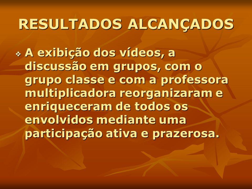 RESULTADOS ALCANÇADOS A exibição dos vídeos, a discussão em grupos, com o grupo classe e com a professora multiplicadora reorganizaram e enriqueceram