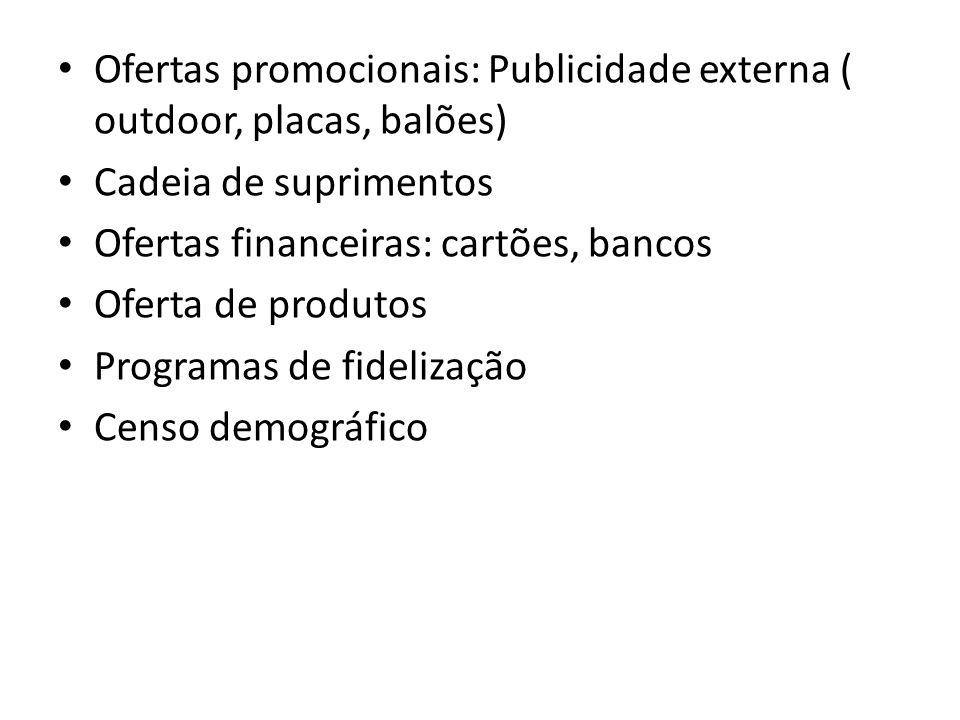 Ofertas promocionais: Publicidade externa ( outdoor, placas, balões) Cadeia de suprimentos Ofertas financeiras: cartões, bancos Oferta de produtos Pro
