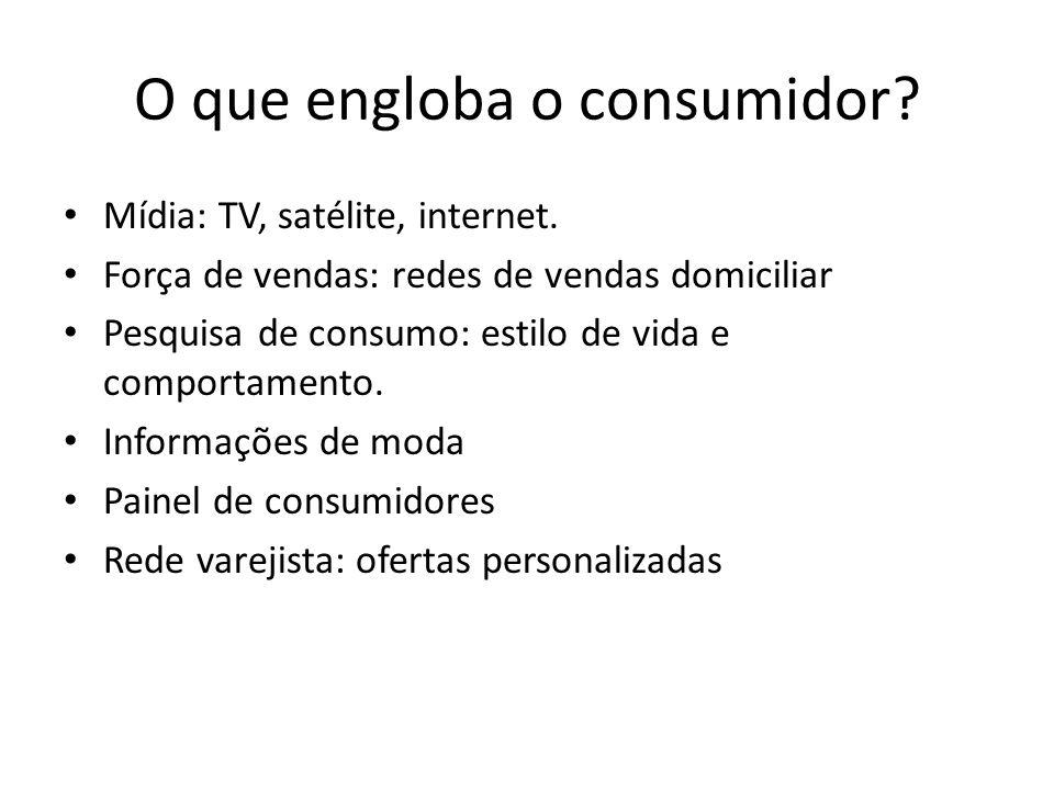 O que engloba o consumidor? Mídia: TV, satélite, internet. Força de vendas: redes de vendas domiciliar Pesquisa de consumo: estilo de vida e comportam