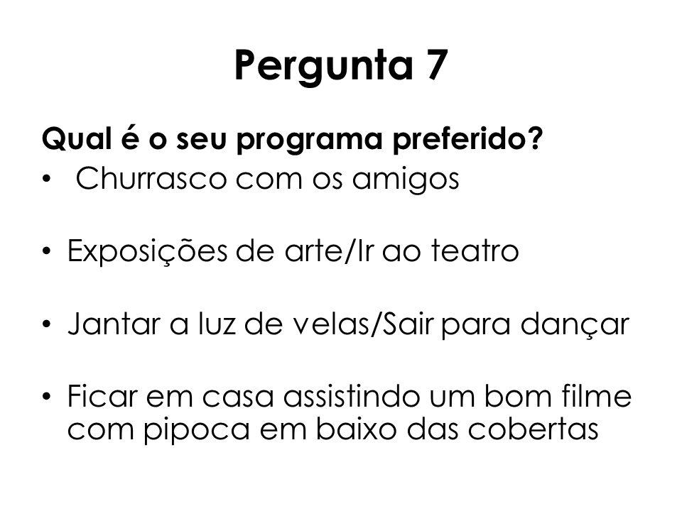 Pergunta 7 Qual é o seu programa preferido? Churrasco com os amigos Exposições de arte/Ir ao teatro Jantar a luz de velas/Sair para dançar Ficar em ca