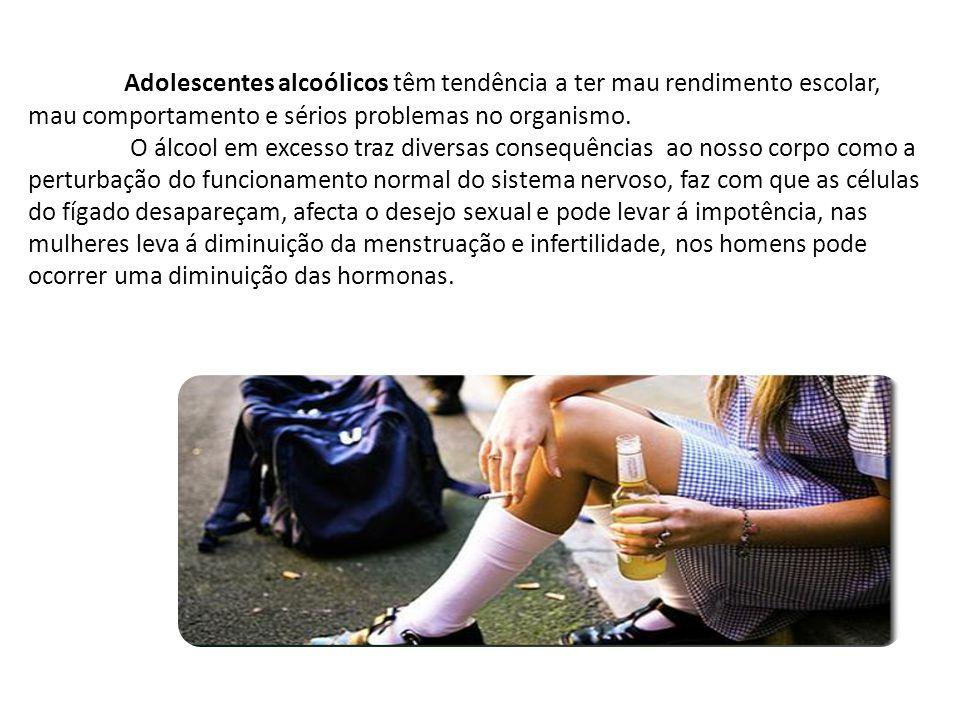 Adolescentes alcoólicos têm tendência a ter mau rendimento escolar, mau comportamento e sérios problemas no organismo. O álcool em excesso traz divers
