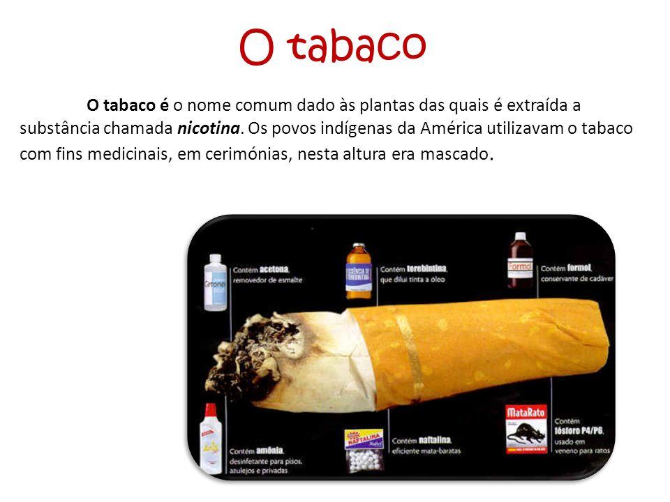 O tabaco O tabaco é o nome comum dado às plantas das quais é extraída a substância chamada nicotina. Os povos indígenas da América utilizavam o tabaco