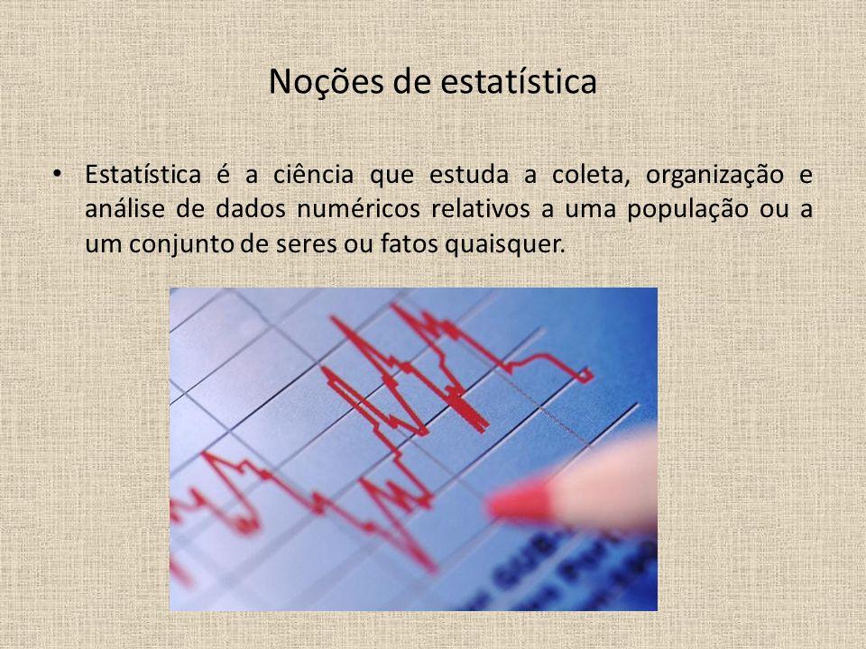 Noções de estatística Estatística é a ciência que estuda a coleta, organização e análise de dados numéricos relativos a uma população ou a um conjunto