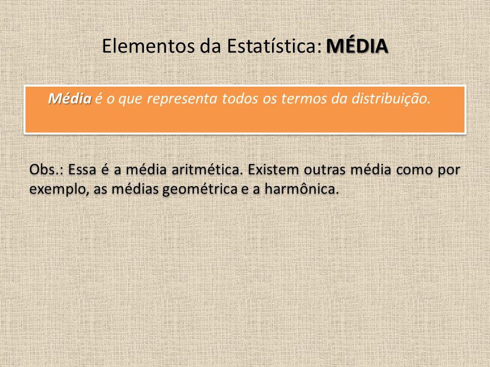 Média Média é o que representa todos os termos da distribuição. MÉDIA Elementos da Estatística: MÉDIA Obs.: Essa é a média aritmética. Existem outras