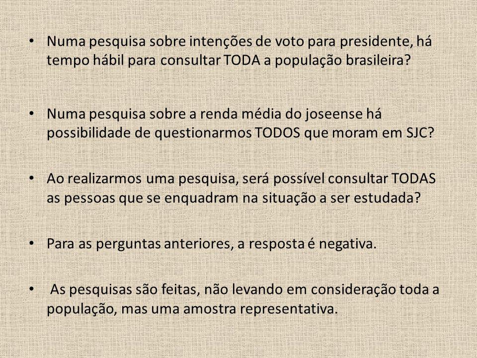 Numa pesquisa sobre intenções de voto para presidente, há tempo hábil para consultar TODA a população brasileira? Numa pesquisa sobre a renda média do