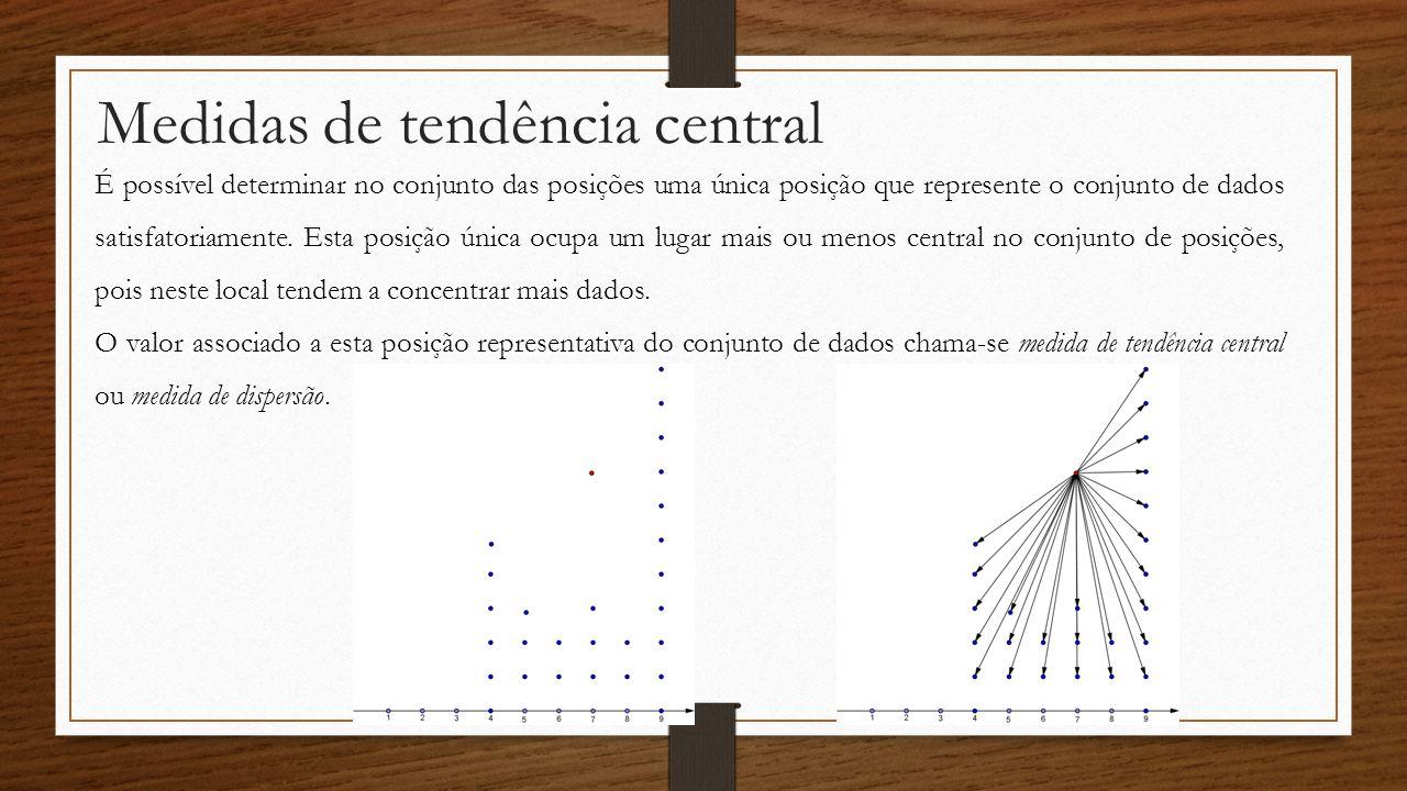 Medidas de tendência central É possível determinar no conjunto das posições uma única posição que represente o conjunto de dados satisfatoriamente. Es