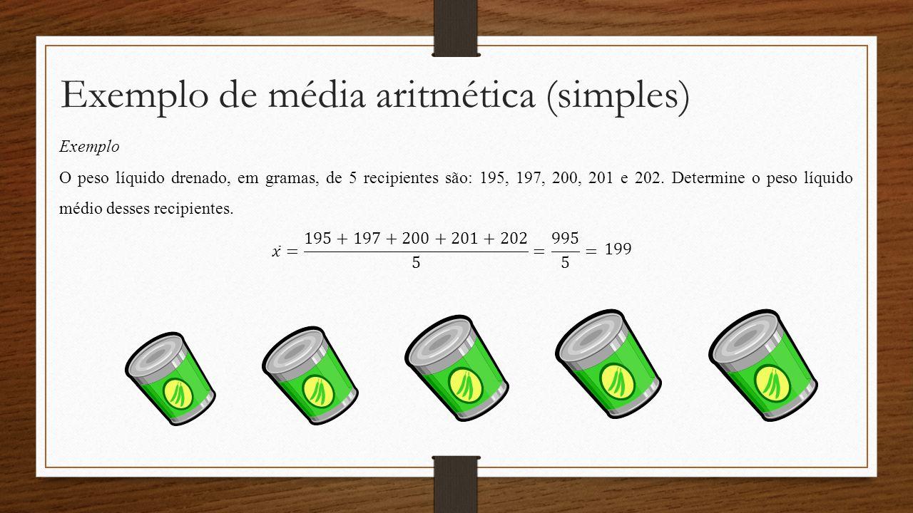 Exemplo de média aritmética (simples) Exemplo O peso líquido drenado, em gramas, de 5 recipientes são: 195, 197, 200, 201 e 202. Determine o peso líqu