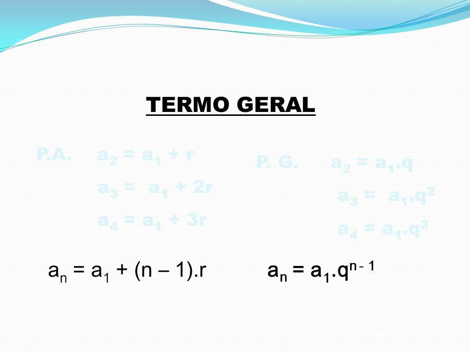 a 20 = a 1 + 19·r a 20 = 0 + 19·2 a 20 = 38 A soma dos vinte primeiros números pares é: NÚMEROS PARES: 0, 2, 4, 6... P.A. a 1 = 0 e r = 2 S 20 = ( a 1