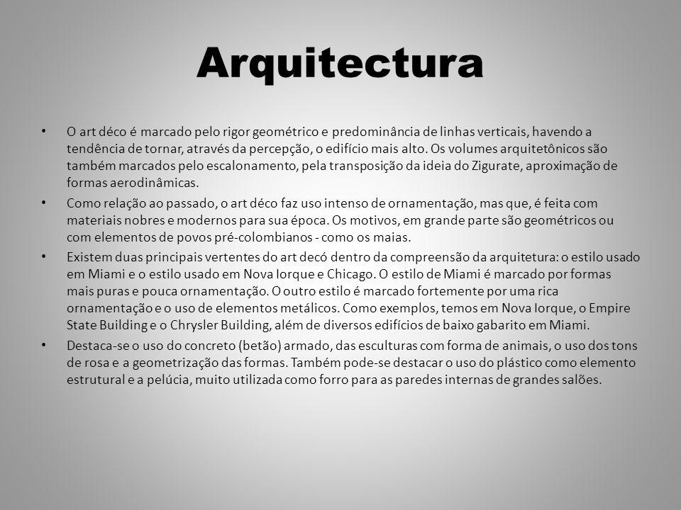 Arquitectura O art déco é marcado pelo rigor geométrico e predominância de linhas verticais, havendo a tendência de tornar, através da percepção, o edifício mais alto.