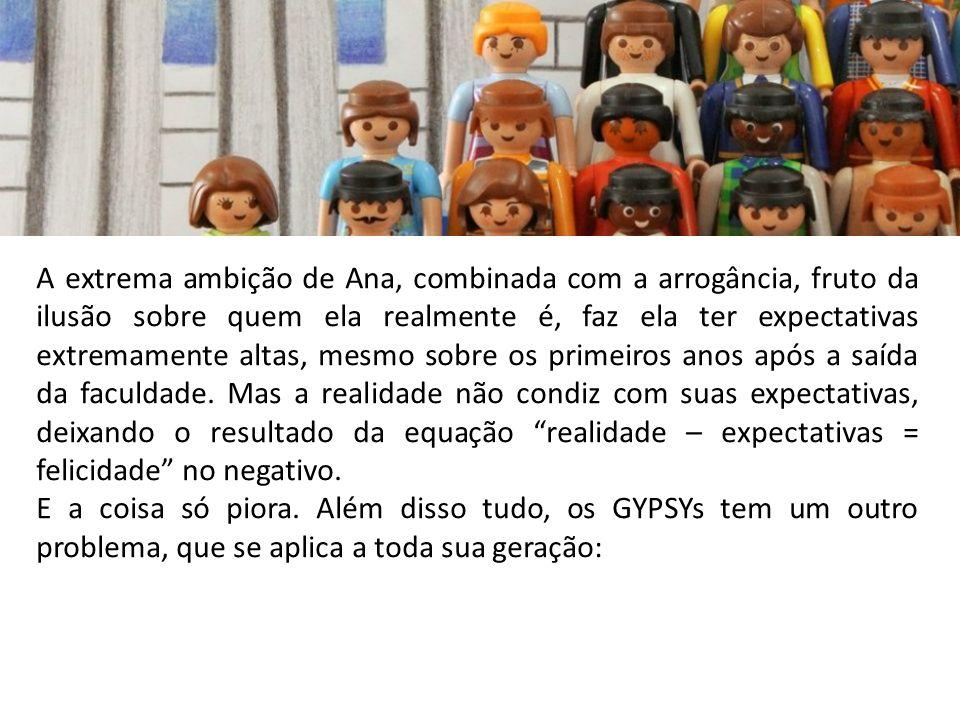 A extrema ambição de Ana, combinada com a arrogância, fruto da ilusão sobre quem ela realmente é, faz ela ter expectativas extremamente altas, mesmo s